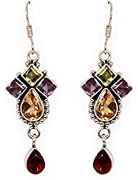 Silverwala 925-92.5 Sterling Silver Multi Stone fashion Earrings for women and girls