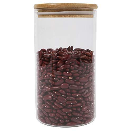 ORNAMI HOME Glas-Gefäß, mit Deckel, umweltfreundlich, gesund, Silikon, mit luftdichter Verschluss, Behälter, Container, für Küche, für Kräuter, für Kaffee, Mehl, Zucker, glas, farblos, Medium 1.3L