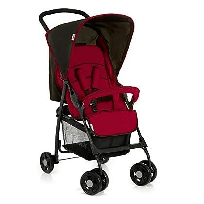 Hauck Sport - Silla de paseo ligera y practica para bebes, sistema de arnés de 5 puntos, respaldo reclinable, plegable, 0 meses hasta 15 kg, Tango/Caviar (negro y rojo)