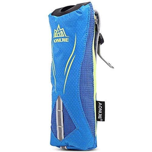 Imagen de aonijie bolsa de botella de agua y movíl portátil,suave fundas,bolsa para maratón de mano  de hidrataciónal para deportes al aire libre azúl