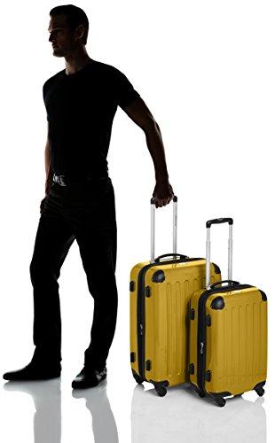 HAUPTSTADTKOFFER - Alex - 2er Koffer-Set Hartschale glänzend, TSA, 65 cm + 55 cm, 74 Liter + 42 Liter, Orange-Aubergine Gelb