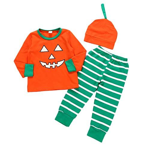 Anywow Unisex Säugling Jungen Mädchen Halloween Pyjamas Hosen Set Kleinkind Baby Pumpkin Tops Gestreifte Hosen Hut Nachtwäsche Kleidung
