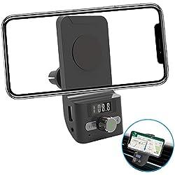 AIRENA FM Transmetteur Bluetooth Voiture, Support Téléphone Voiture, Support Smartphone Voiture Magnétique pour l'iPhone XS/XR/8/7/6 Plus Galaxy S10/S9/S8/S7 Edge Huawei P30/P20/ M20 Pro
