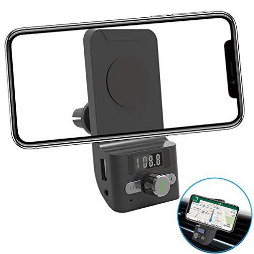 FM Transmitter Auto Bluetooth, AIRENA Freisprecheinrichtung Auto Bluetooth, Handyhalter fürs Auto für iPhone XS/X/8/7/6 Plus Samsung Galaxy S10//S9/S8/S7 Edge Huawei P30/P20/ M20 Pro (Halterung Fm Auto Transmitter)
