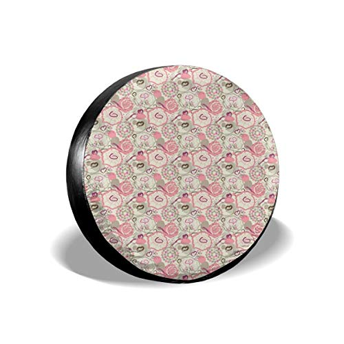 ErwangGo Tire Cover Wheel Covers,Pastel Colored Flowers Abstract Swirls and Hearts Romantic Pattern,for SUV Truck Camper Travel Trailer Accessories(14,15,16,17 Inch) 15 -