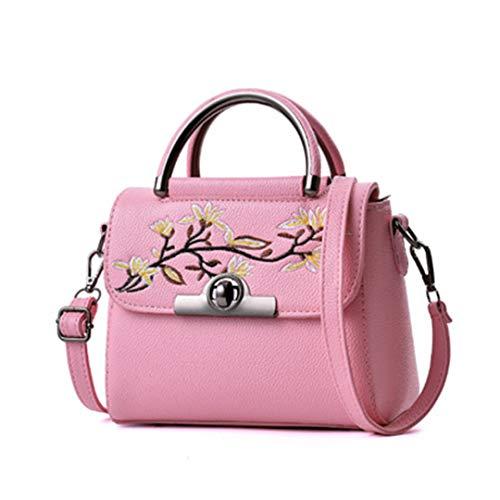 Sequined Floral Top (Vintage Floral Embroidered Bag Women Leather Handbags Famous Women Shoulder Messenger Bags G 22X12X17CM)