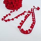 Red Small mini Pom Pom Bobble Trim 8mm wide pom poms - by the metre by On Trend Fabrics