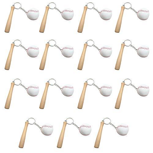 Baseball-Schlüsselanhänger mit Tasche, Weiß, 2 Packungen, 15 Stück