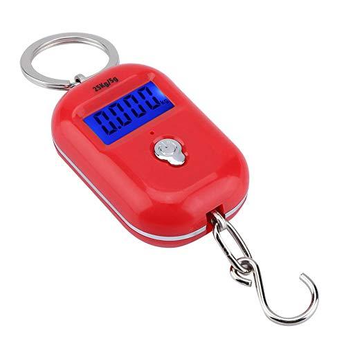 Pokerty Digitalwaage, tragbar Mini 25 kg / 5 g Elektronische Waage Digitale Tasche Schlüsselanhänger Gewicht Haken Lebensmittelwaage Lebensmittelwaage (Digital Waage 25 Kg)