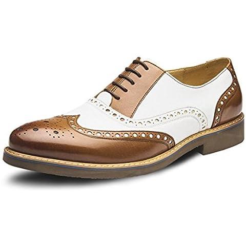 WZG los zapatos de estilo británico de los nuevos hombres Bullock talladas zapatos de cuero de zapatos de cuero señalaron los zapatos infantiles zapatos de moda casual , brown , 42
