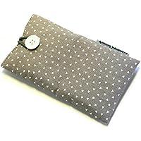 Handytasche aus Stoff - KLEINE DREIECKE BEIGEGRAU - mit Knopf für APPLE iPhone 8 , 7 , 6s und 6 - gepolsterte Handyhülle - Geschenk Weihnachten - Smartphonehülle - Handy-Tasche / Handy-Hülle - iPhone-Tasche / iPhone-Hülle - GEOMETRISCH - waschbar - cotton case / sleeve / cover
