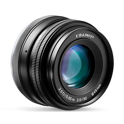 CRAPHY Objektiv, 50mm Objektiv für Sony E-Mount, F2.0-F22 Festbrennweite, Fotoobjektiv mit APS-C für NEX 3, NEX 3N, NEX 5, NEX 5T, NEX 5R, NEX 6/7, A5000, A5100, A6000, A6100, A6300, A6500
