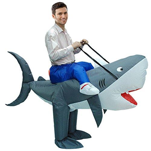 Triseaman Unisex Erwachsene Halloween Lustige Fancy Blow Up Outfit Kostüm Aufblasbare Anzug Hai (Blow Up Kostüme Für Erwachsene)
