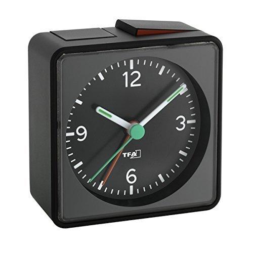 Analoger Lautlos-Wecker TFA 60.1013 Push Sweep-Uhrwerk ohne Ticken (Schwarz, mit Batterie)