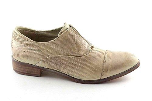 FOLLIE DIVINE 2A0032 chaussures brogues sable femmes glissent sur la pointe élastique Beige