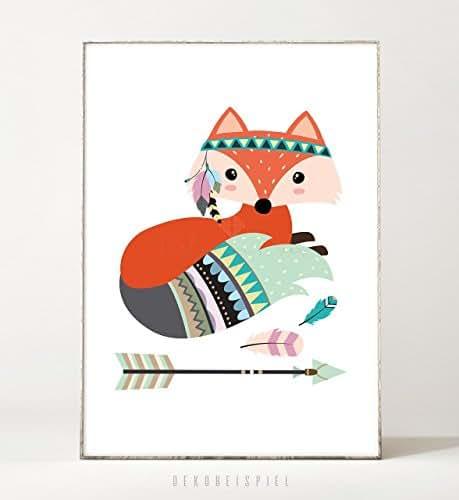 Kunstdruck / Poster FUCHS -ungerahmt- Tier, Boho, Kinderzimmer, Indianer, Pfeil, Geschenk, Geburtstag, Taufe, Kind, Waldtier