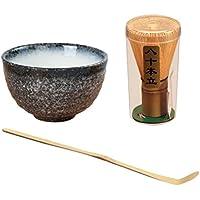 Gazechimp Tazón de Té Verde Matcha +Cucharadita de Polvo de Bambú Matcha+Chasen Bambú Matcha Té Japonés Accesorio Ceremonia 60-70