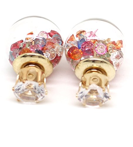 Boucles d'oreilles de cuisson double boucles d'oreille boule en verre et strass avant dans différentes couleurs des paillettes Mon Monde