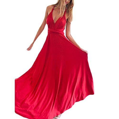 Damen Kurzarm V-Ausschnitt Rückenfrei Trägerlos Schlank Taille Gürtel Elegant Swing Kleid Cocktailkleid Partykleid Abiballkleid Maxikleider Lange Kleider Ballkleid Rot