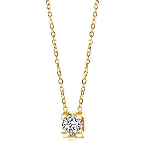 WISTIC Gold Herz Halskette 14 Karat Vergoldet Kubikzircon Mädchen Halsketten 18