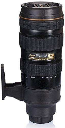 Grinscard Isolierkanne mit Kaffee Becher - Schwarz Kameraobjektiv Design 0,5l - Gadget Thermo Flasche Reise & Zuhause