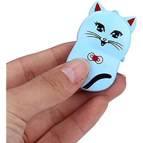 Malloom Mini Lindo Gato USB Clip reproductor de MP3 Pantalla LCD Soporte 32GB Micro SD TF Card (azul)