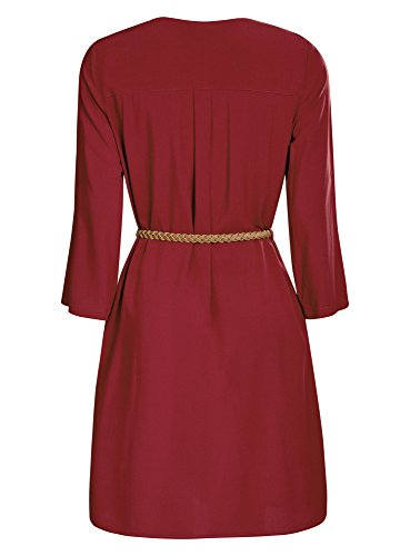 oodji Ultra Femme Robe en Viscose avec Ceinture Rouge (4900N)