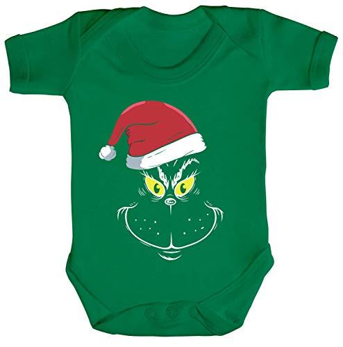 ShirtStreet Weihnachtsgeschenk Strampler Bio Baumwoll Baby Body kurzarm Jungen Mädchen Weihnachtsmuffel Face, Größe: 3-6 Monate,Kelly - Grinch Kostüm Baby