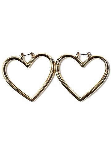 Simplee Apparel les femmes créoles stanless double coeur acier bijoux