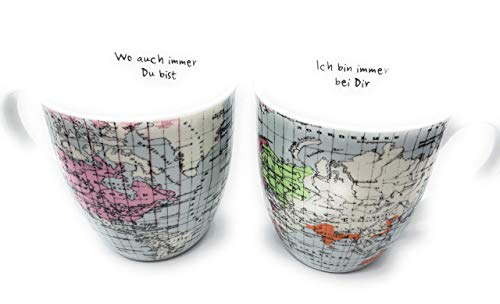 Jumbobecher Weltreise 2 er Set mit Spruch je 600 ml Partner Tasse World Landkarte Weltkarte -