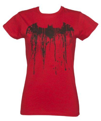 Graffiti Logo T-shirt (Batman Graffiti Logo Damen T Shirt Rot)