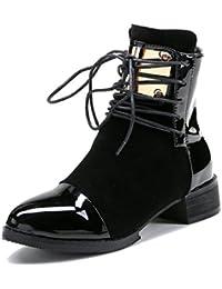 MEI&S Talón de fondo plano de mujeres botas cortas de metal de tamaño grande