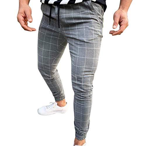 Huaheng Hombre Casual Estrecho Running Pantalón de Chándal Ajustado Chándal Deporte Sudor Cuadros Pantalones - Gris Claro, M
