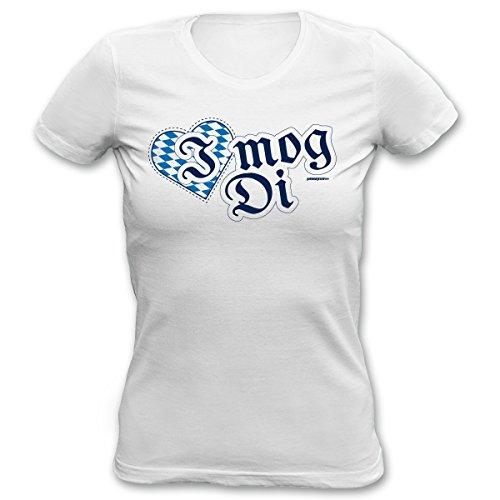 Sexy Damen T-Shirt fürs Volksfest - I mog Di - Bayerischer Spruch mit Herz, perfekt fürs Oktoberfest, Wiesn Weiß