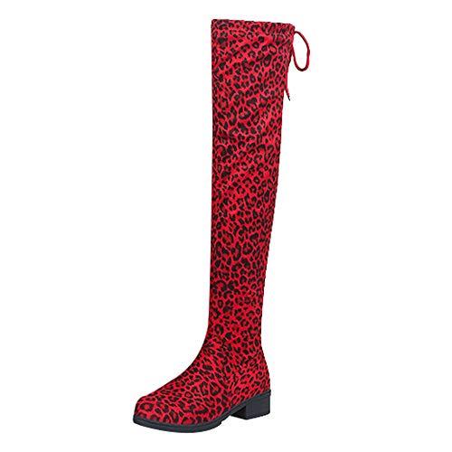 MYMYG Damen Chelsea Boots Overknees Frauen Wildleder Leopardenmuster Runde Spitze hohe Stiefel Overknee-Schuhe Stiefel Langschaft High Boots Low Stack Ferse ()