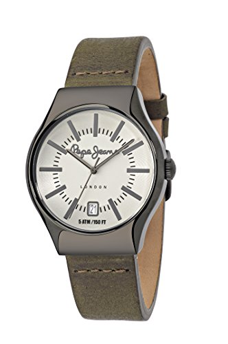 Pepe Jeans Joey Men's Quartz Watch with Gold Dial Analogue Display and Green Leather Strap R2351113003