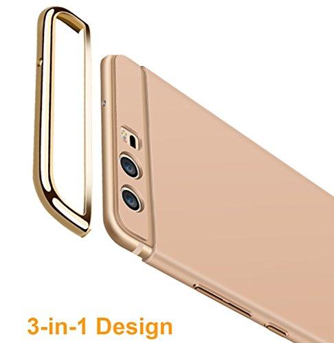 Coque Huawei P10 5,1 pouces, MSVII® 3-in-1 Design PC Coque Etui Housse Case et Protecteur écran Pour Huawei P10 5,1 pouces - Or rose JY50016 Noir