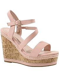 by Shoes - Sandale Compensée en Liège et Style Cuir - Femme