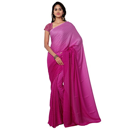 GL Sarees Casual Plain Solid Light Rani And Dark Rani Shaded Crepe Buti Work Saree For Women  available at amazon for Rs.750