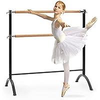 Klarfit Barre Ballettstange & Stretchleiter • freistehend • für Das professionelle Tanz- und Bewegungstraining • Holzoptik und Stahlrohr • bis 220 cm lang • für Kinder und Erwachsene