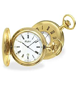 Woodford Gold Plated 17 Jewels Half Hunter Pocket Watch with Chain & Gift Case