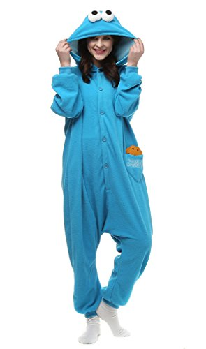 Auspicious Beginning Unisex-Adult Cookie Monster Cosplay-Kostüm-Karikatur-Schlafanzüge Pyjama Freizeitkleidung Lounge (Dress Cookie Monster)