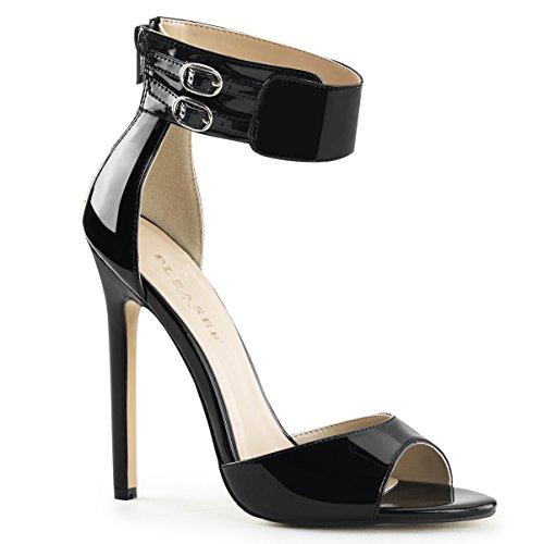 Lack Sandalette, Damen, Schwarz (schwarz) Schwarz (Schwarz)