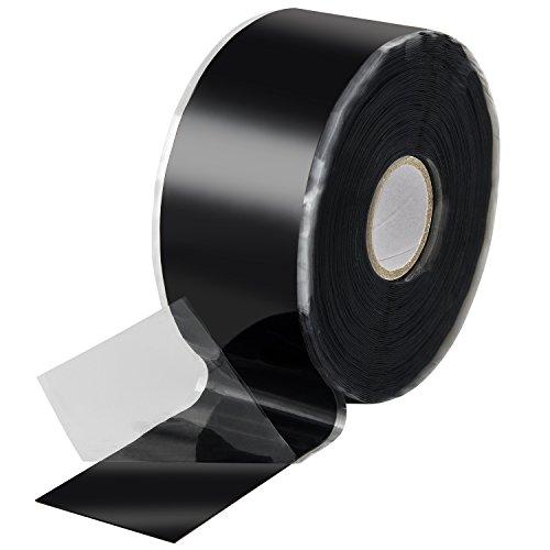 Poppstar Nastro silicone 1x 11m autoagglomerante fascia silicone per riparazione nastro nastro isolante e nastro di tenuta largo 38 nero