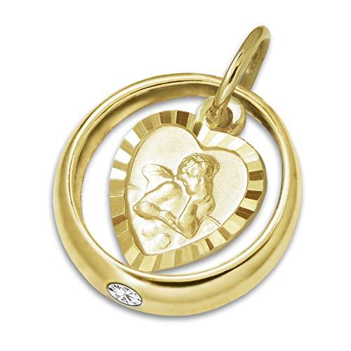Clever scmuck dorato minadesign battesimo anello lucido zirconi bianco con ciondolo angelo a forma di cuore opaco con bordo diamantato 333oro 8carati per bambini nella custodia
