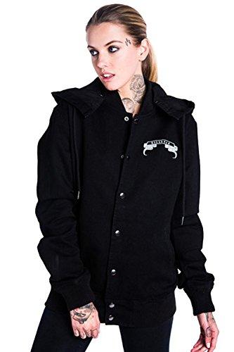 Killstar Okkult Unisex Denim Jacke - Fact Hood Bomberjacke Schwarz