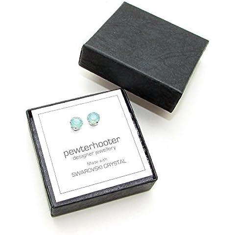 Venta de liquidación. 925 aretes de plata hechos a mano con cristales de color Pacific Opal brillante de SWAROVSKI®.