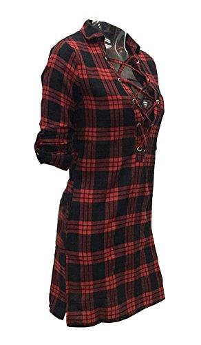 LaoZan Tunique Femme Chemise Manches Longue Col V Chemisier De Plaid Haut Top Blouse Tie Up Dress Rouge