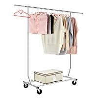 LANGRIA Heavy Duty Wheeled Clothes Rack Extendible Coat Stand Clothes Rack With Wheels, Chrome Finish