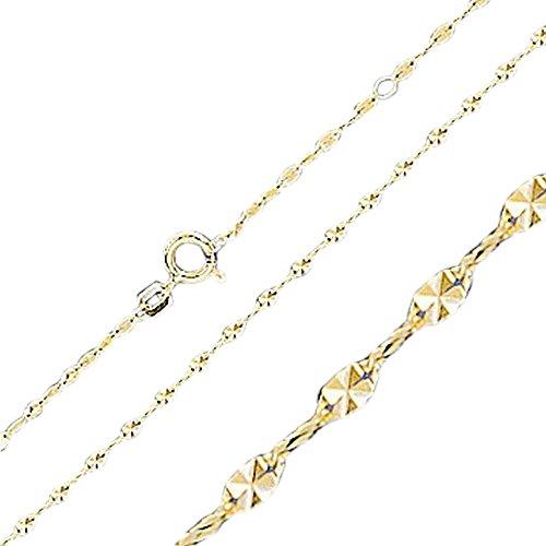 ASS 333 Gold Damen Singapur Kette Halskette Collier , aus diamantierten Plättchen 1,8 mm 45 cm, Verkürzung 42 cm, neu